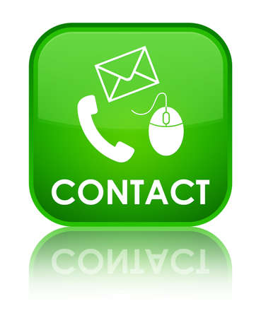 email contact: Contact (phone, email and mouse icon) green square button Stock Photo