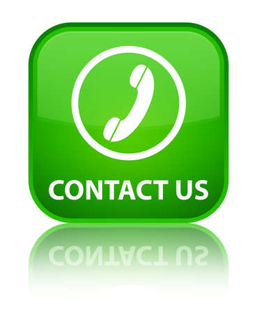 contact us phone: Contact us (phone icon round border) green square button