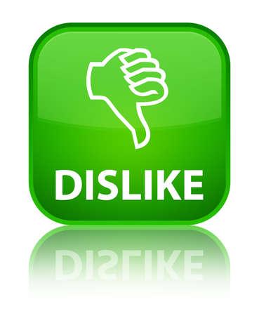 no gustar: No me gusta el bot�n verde cuadrado Foto de archivo