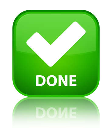 Done (validate icon) green square button photo