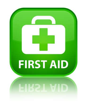 primeros auxilios: Botón de primeros auxilios cuadrado verde
