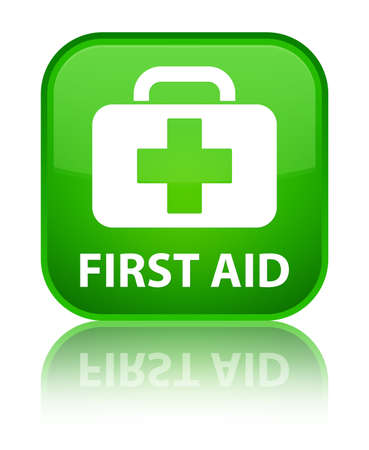 first aid: First aid green square button Stock Photo