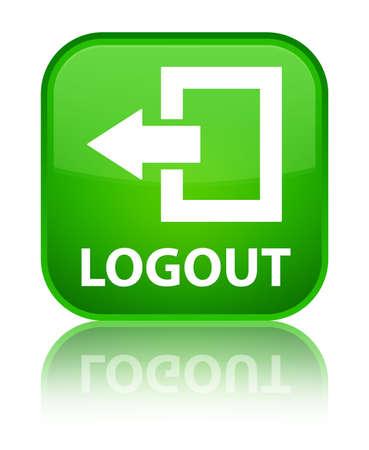 logout: Logout green square button Stock Photo