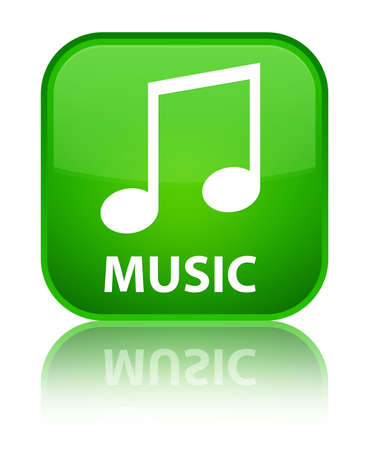 tune: Music (tune icon) green square button Stock Photo