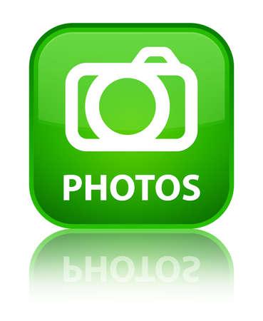 photo slide: Photos (camera icon) green square button Stock Photo