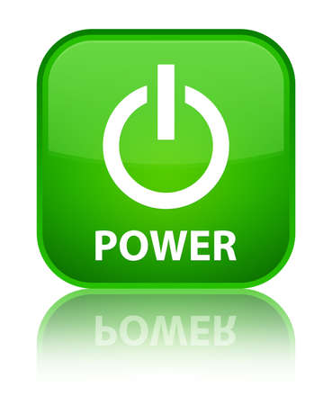 green power: Power green square button