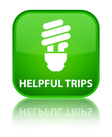 hints: Helpful tips (bulb icon) green square button Stock Photo