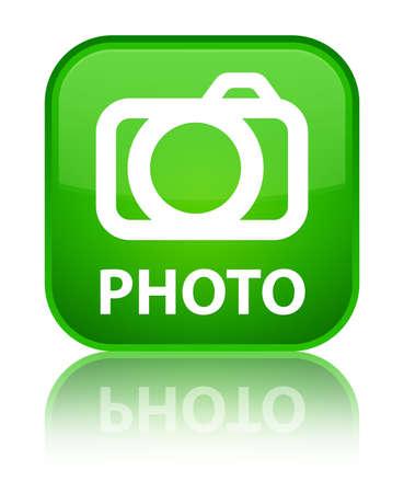 photo slide: Photo (camera icon) green square button Stock Photo