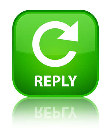 rotate: Reply (rotate arrow icon) green square button Stock Photo