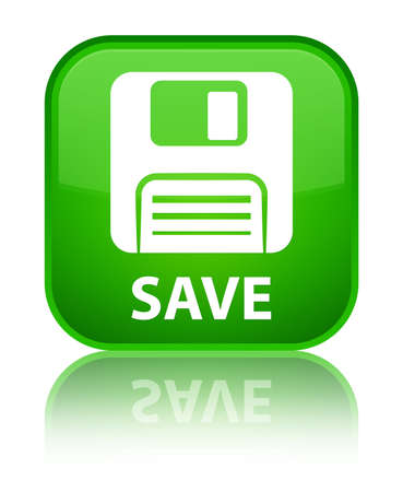 Floppy disk: Save (floppy disk icon) green square button