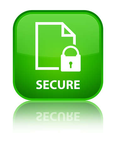 encrypted files icon: Secure (document page padlock icon) green square button Stock Photo