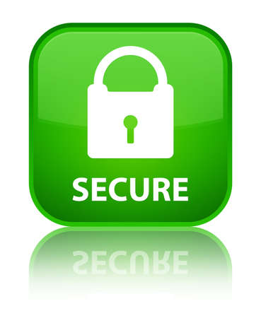 encrypted: Secure (padlock icon) green square button Stock Photo