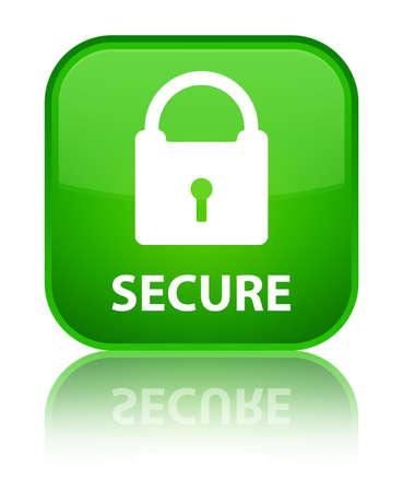 padlock icon: Secure (padlock icon) green square button Stock Photo
