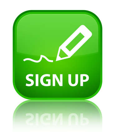 sign up: Sign up green square button