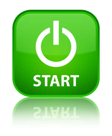 Start (power Icon) Cyan Blue Square Button Stock Photo, Picture And ...