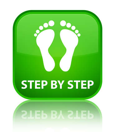 green footprint: Step by step (footprint icon) green square button