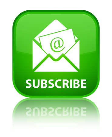 subscribe: Subscribe (newsletter email icon) green square button Stock Photo