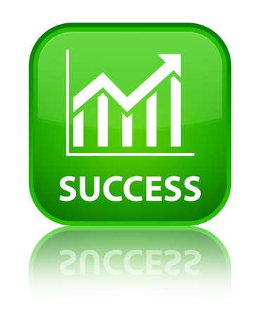 Success (statistics icon) green square button photo