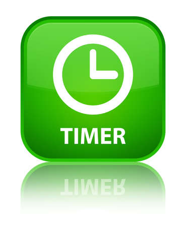 timer: Timer green square button Stock Photo