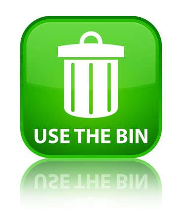 refuse: Use the bin (trash icon) green square button Stock Photo