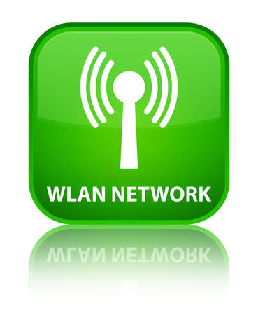 wlan: Wlan network green square button Stock Photo