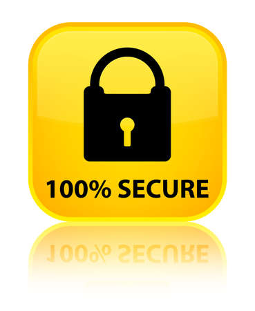 access control: 100% secure yellow square button Stock Photo