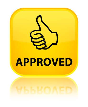 thumbs up icon: Aprobado (pulgar hacia arriba icono) bot�n amarillo cuadrado Foto de archivo
