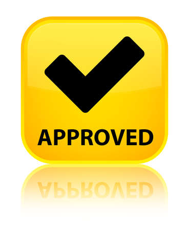 validate: Approved (validate icon) yellow square button Stock Photo