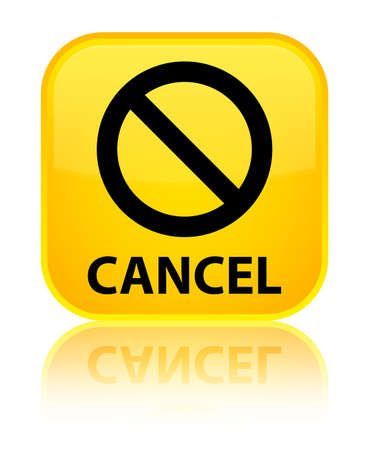 disagree: Cancel (prohibition sign icon) yellow square button