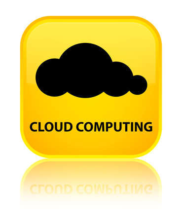 Cloud computing yellow square button photo