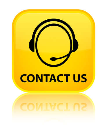 Contact us (customer care icon) yellow square button photo