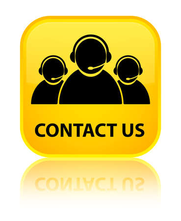 Contact us (customer care team icon) yellow square button photo