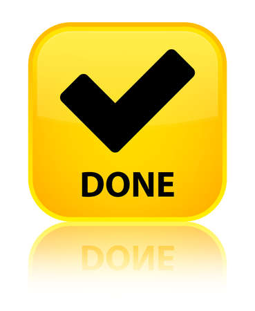 done: Done (validate icon) yellow square button Stock Photo