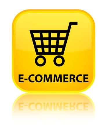 technology transaction: E-commerce yellow square button Stock Photo
