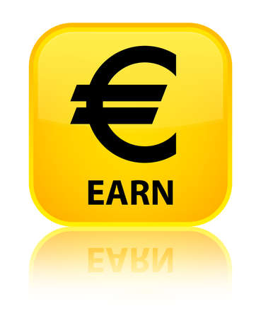 Earn (euro sign) yellow square button Stock Photo