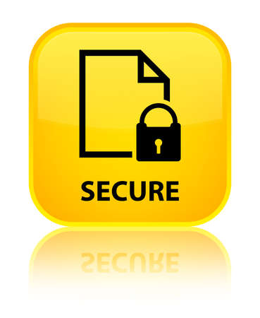 encrypted files icon: Secure (document page padlock icon) yellow square button Stock Photo