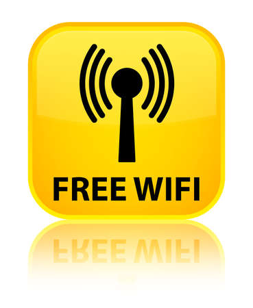 wlan: Free wifi (wlan network) yellow square button Stock Photo