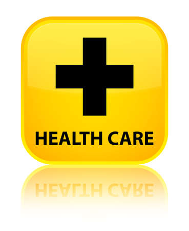 plus sign: Health care (plus sign) yellow square button Stock Photo