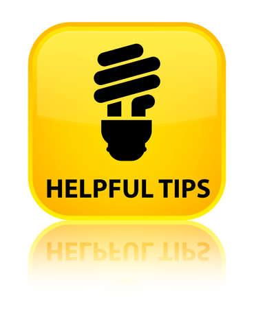 Helpful tips (bulb icon) yellow square button photo