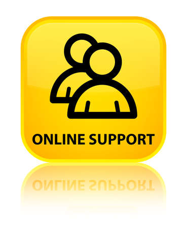 online support: Online support (group icon) yellow square button
