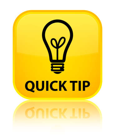 hints: Quick tip (bulb icon) yellow square button Stock Photo