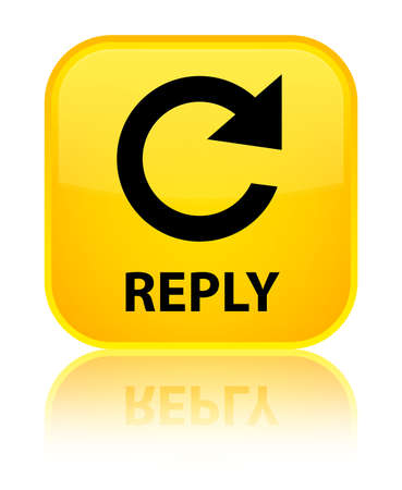 to rotate: Reply (rotate arrow icon) yellow square button Stock Photo