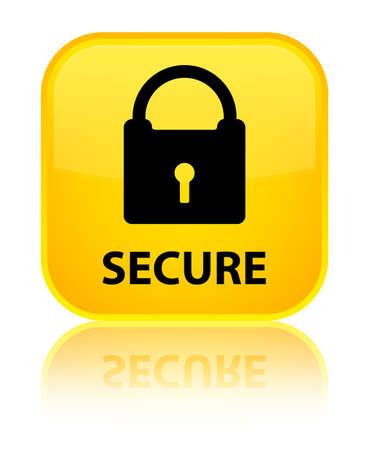 key hole shape: Secure (padlock icon) yellow square button Stock Photo