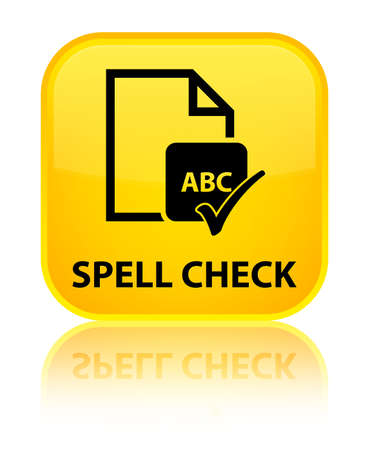 paper spell: Spell check document yellow square button Stock Photo