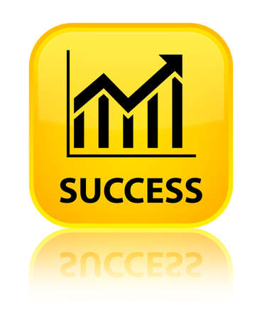Success (statistics icon) yellow square button photo