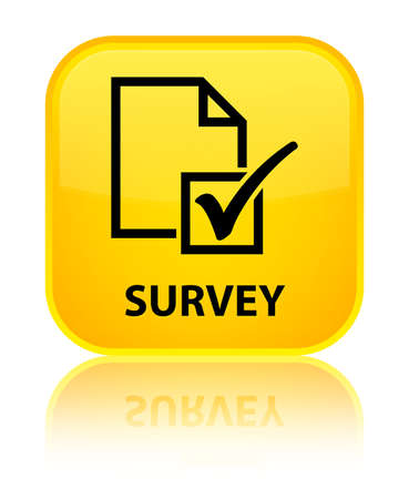 Survey yellow square button photo