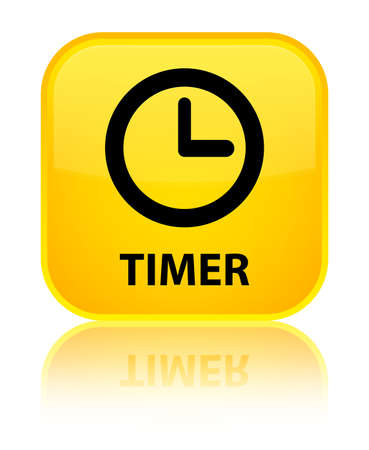 timer: Timer yellow square button Stock Photo