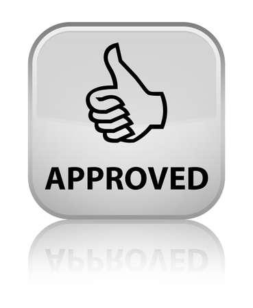 thumbs up icon: Aprobado (pulgar hacia arriba icono) bot�n cuadrado blanco