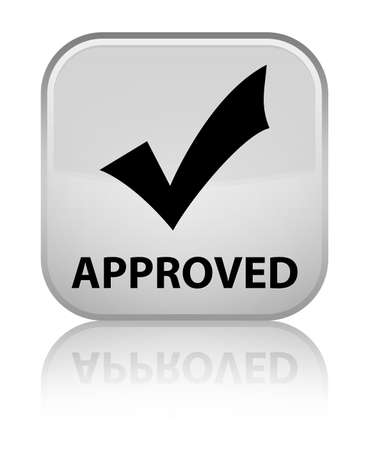 validate: Approved (validate icon) white square button Stock Photo
