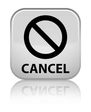 disagree: Cancel (prohibition sign icon) white square button Stock Photo